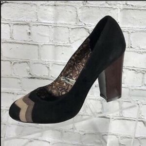 Missoni for Target suede block heels black tan 9